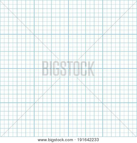 Vector blue graph paper seamless pattern grid accented every inch