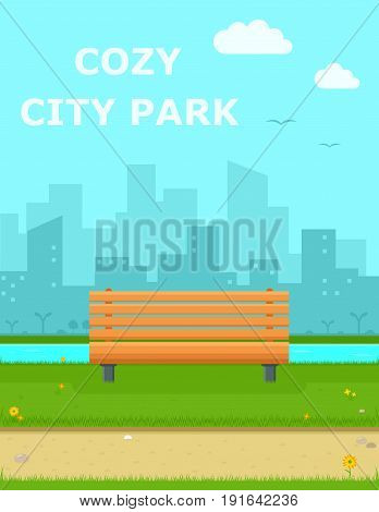 cozy city park with wooden bench cartoon background