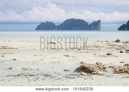 Koh Phi Phi Leh view from the sunny beach of Koh Phi Phi Don, Thailand