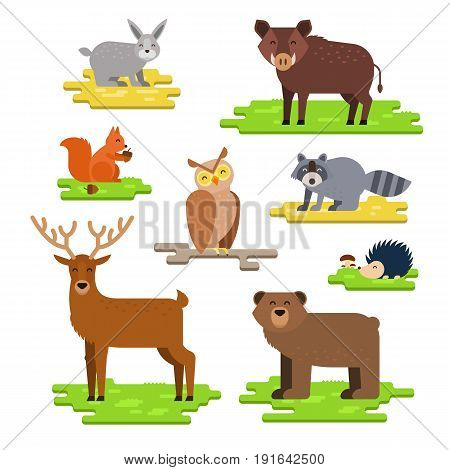 Forest animals set flat vector illustration with hare, wild boar, squirrel, owl, raccoon, hedgehog, deer, bear on the piece of land