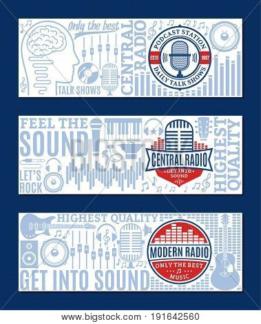 Vector radio banner set. Music icons for radio audio store recording studio label poster or branding