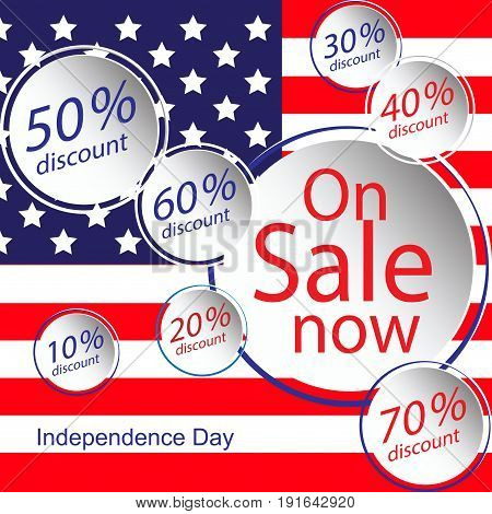 Sale For American Independence Day 4 Th July. Discount Poster Design. National Flag. Vector Illustra