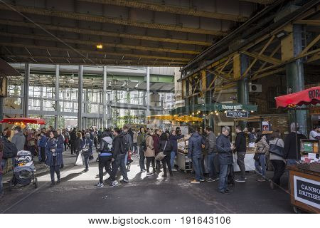London, United Kingdom, October 10, 2016: Crowded Borough Market. Borough Market is one of the largest and oldest food markets in London