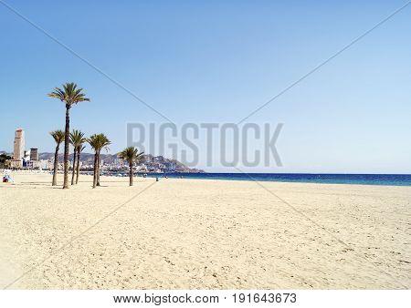 Beautiful Poniente beach, located in Benidorm Spain