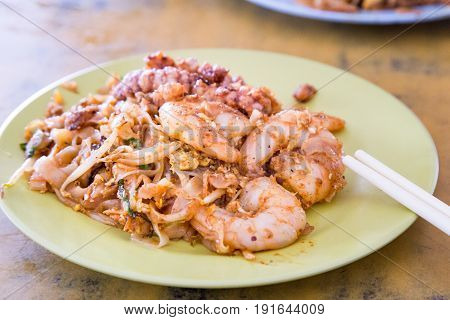 Close-up Penang Char Kuey Teow Or Fried Noodle With Prawns