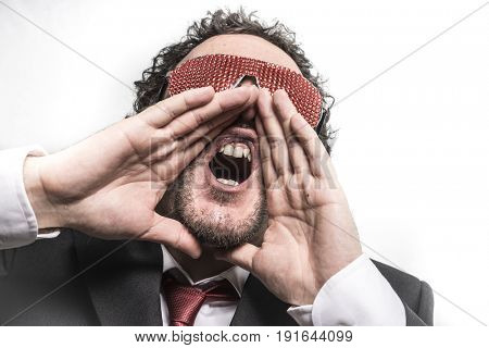 Shoutout, Businessman with red glasses screaming nervously and anxious for money