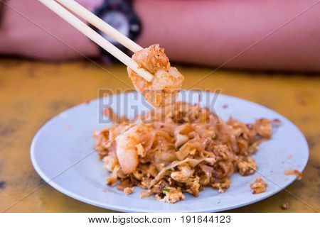 Chopstick Holding Big Prawn From Penang Char Kuey Teow