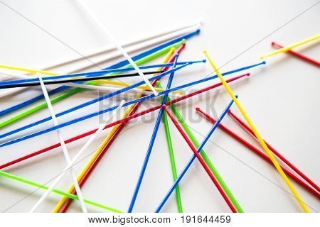 Close-up On Pile Of Pick Up Sticks Fun Game Overlapping