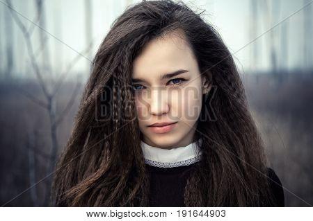 portrait beautiful teenage girl close up outdoors