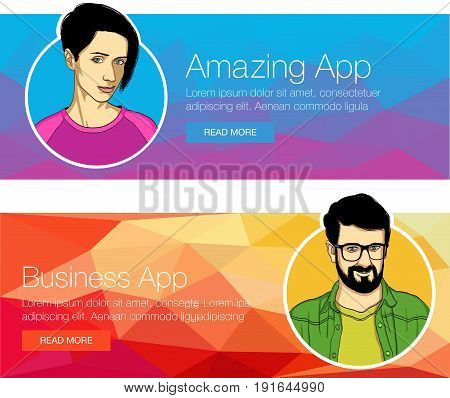 Set of banners for header or footer. Man and woman talking about courses, training, application. Vector illustration of abstract background