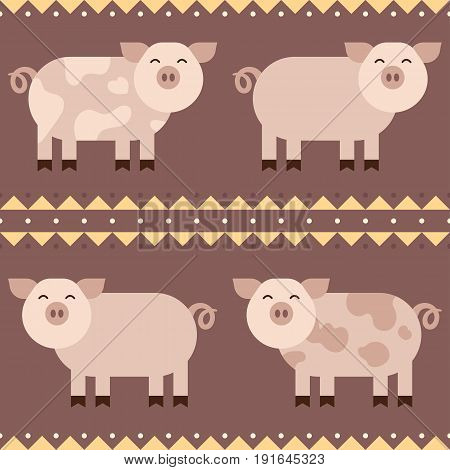 Flat funny pigs smiling Seamless Pattern vector design - stock vector illustration.