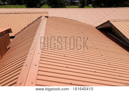 Strip Of Running Metal Roof Of A Building