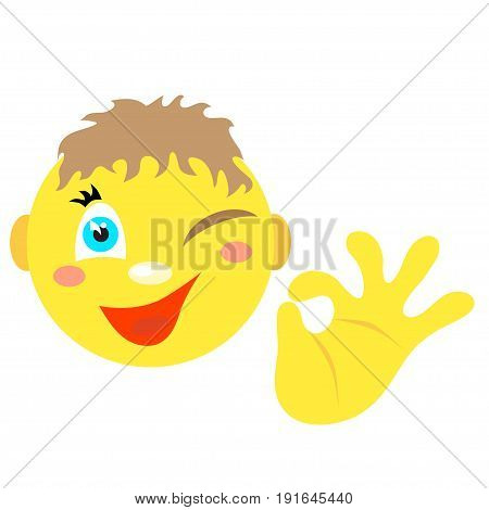 Smiley boy with a gesture ok. Icons on a white background. Vector image in a cartoon style