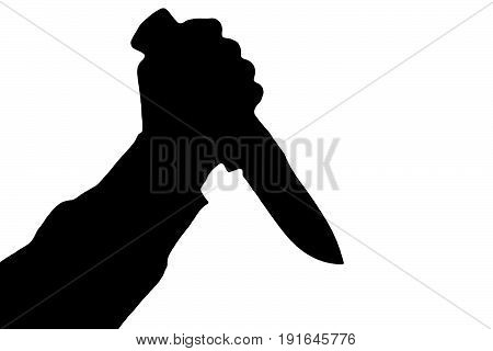 Isolated human hand with killing knife silhouette (shadow) on white background. Graphic resources for designers and criminal news and chronicles.