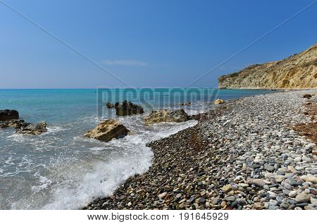 Summer Vacation Concept. Beach And Turquoise Sea Water. Pissouri Bay, Cyprus Island
