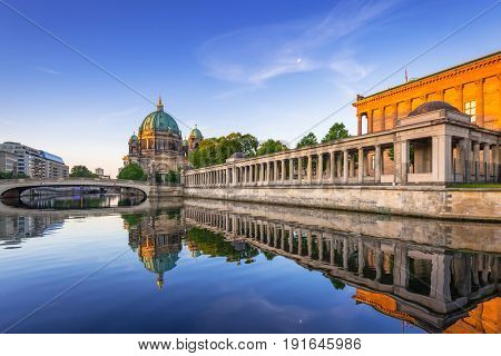 Berlin Cathedral (Berliner Dom) reflected in Spree River at dawn, Germany