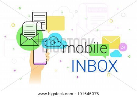 Mobile inbox app on smartphone concept vector illustration. Human hand holds smart phone with email app for receiving newsletters and network notifications. E-mail synchronization and cloud storage