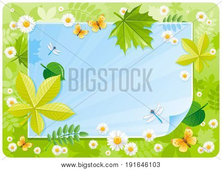 Spring banner border. Cute forest scene, green grass, blue sky, daisy flower, leaf, butterfly. Springtime nature. Paper sheet copyspace. Vector illustration. Flat greeting card background design