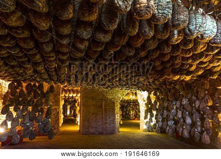 Polesine Parmense Italy - November 29 2013: The cellars for the aging of salted pork in the Antica Corte Pallavicina Relais