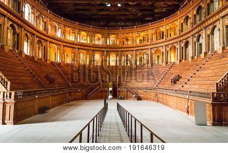 Parma Italy - October 19 2013: Della Pilotta palace the Farnese Theatre