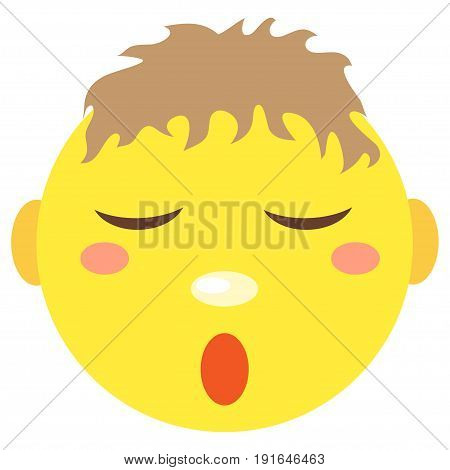 Smiley boy sleeps. Icons on a white background. Vector image in a cartoon style