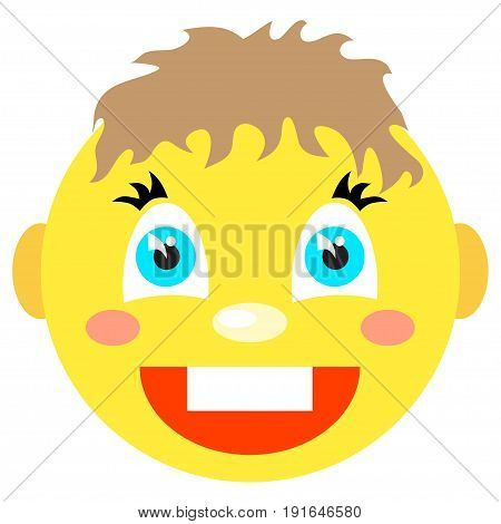 Smiley boy laughs. Icons on a white background. Vector image in a cartoon style.