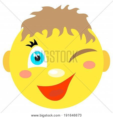Smiley boy winks and smiles. Icons on a white background. Vector image in a cartoon style