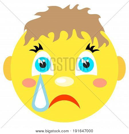 Smiley boy cries. Icons on a white background. Vector image in a cartoon style