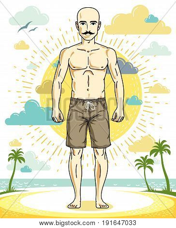 Handsome hairless young man with mustaches standing on tropical beach in bright shorts. Vector athletic male illustration. Summer vacation lifestyle theme cartoon.