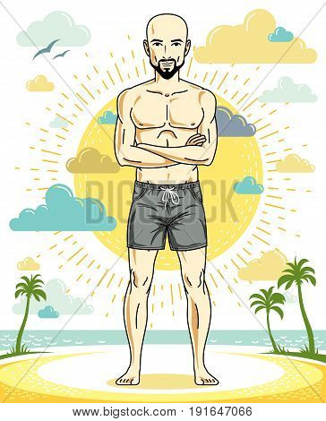 Handsome hairless young man with beard and mustaches standing on tropical beach in bright shorts. Vector athletic male illustration. Summer vacation lifestyle theme cartoon.
