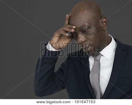 African Descent Man Thinking Concept