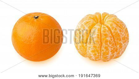 Isolated tangerines. Collection of whole tangerine and one peeled tangerine or orange fruit isolated on white background with clipping path