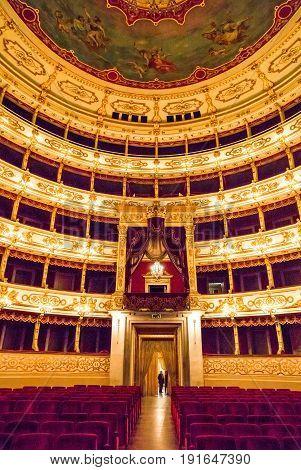 Parma Italy - October 19 2013: The Regio Theater indoor