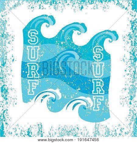 t-shirt surfing Miami Beach Florida surfing T-shirt inscription typography graphic design emblem