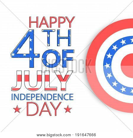 USA independence day greeting card. Fourth of July illustration. July 4th poster or banner design