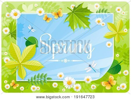 Spring banner border. Cute forest poster, green grass, blue sky, flower, leaf, butterfly. Springtime nature. Paper sheet copyspace. Vector illustration. Flat greeting card background, text letter