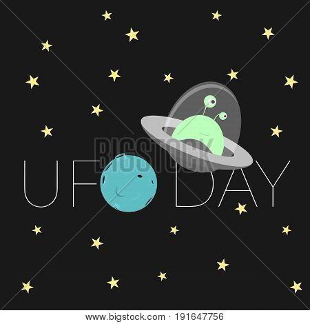 Cartoon illustration for world UFO day. Vector card poster banner