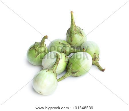 fresh thai eggplant on white background. Green eggplant aubergine vegetable isolated