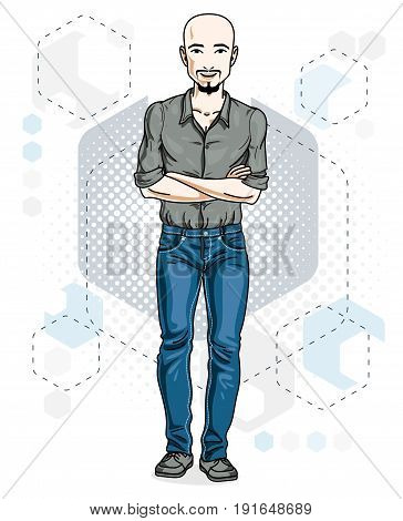 Handsome bald young man with beard and whiskers poses on modern background with hexagons. Vector illustration of male. Lifestyle theme clipart.