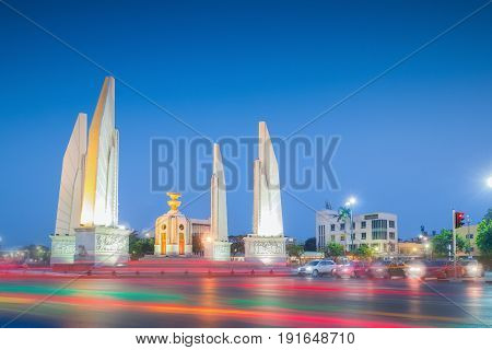 Thailand democracy monument (Anusawari Prachathipatai) public monument in the centre of Bangkok capital of Thailand