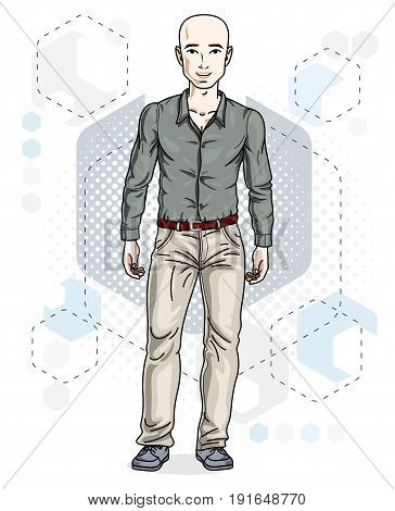 Handsome bald young man poses on modern background with hexagons. Vector illustration of male. Lifestyle theme clipart.