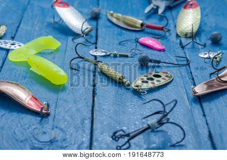 Fishing Lures For Spinning. Water Drops. Tee, Lure, Soft Bait, Wobblers, Hard Bait.