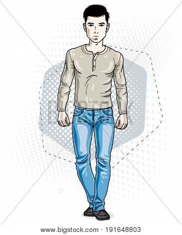 Confident handsome brunet young man standing. Vector illustration of male wearing casual clothes jeans pants and sweatshirt.