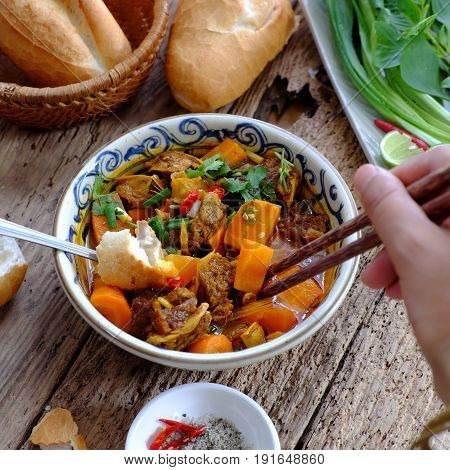 Vietnam Food, Bread With Stewed Beef