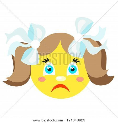Sad smiley girl. Icons on a white background. Vector image in a cartoon style