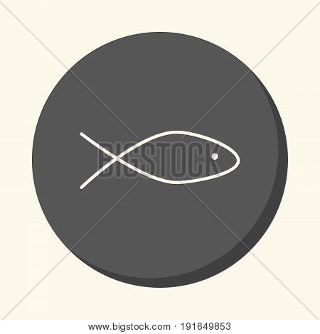 Stylized fish silhouette vector round line icon with volume illusion simple color change