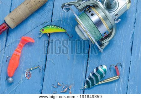 Spinning, Reel, Wobblers And Silicone Bait. Mormyshki. Lures For Winter Fishing. Hard Bait.
