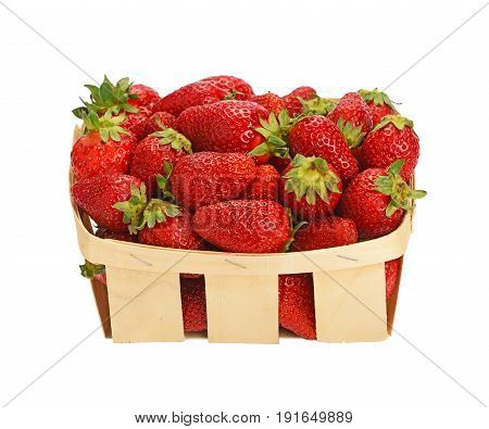 Red Ripe Strawberries In Wooden Basket Over White