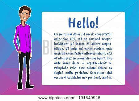Banner with business people. Vector character with bubble talk. Vector quote for colorful web banners, web sites, printed materials, infographics, startup, marketing. Guy says - hello