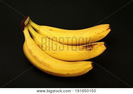 Bunch Of Yellow Bananas Isolated On Black